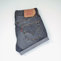 "LEVIS 501 high waisted shorts /  dark gray denim / cuffed hem / size 30"" waist"
