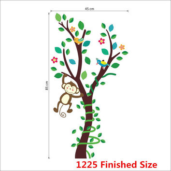 Cartoon animals monkey flower tree forest wall stickers DIY home decor wall decals children kids nursery room decoration poster SM6