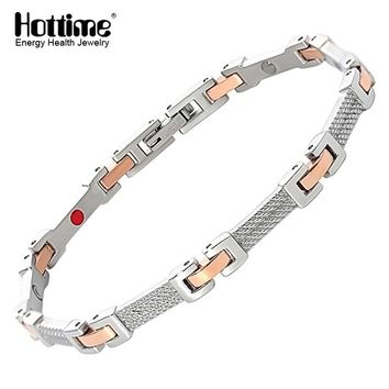 Hottime Fashion Trendy Silver Rose Golden Stainless Steel Clasp Twisted Silver Black Cuff Cable Bangles Health Energy Bracelets