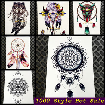 black women henna temporary tattoo stickers GQS-C003 Large dream catcher indian sun flower dreamcatcher Sexy Arm Shoulder tattoo