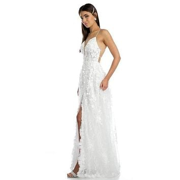 Off White Lace Flower Appliqued Long Prom Dress with Slit