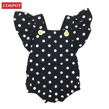 COSPOT Baby Girls Dot Rompers Girl Summer Cotton Ruffle Sleeve Romper Toddler Fashion Jumpsuit Newborn Girl's Cotton Jumper 30D