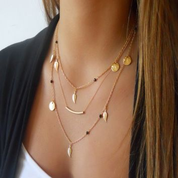 Lariat Triple Layered Tree Leaves Bar Necklace