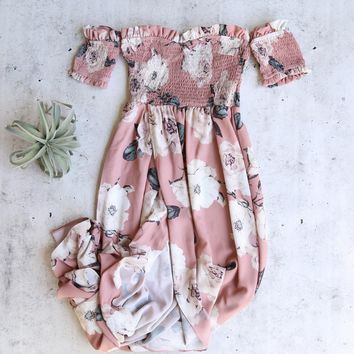 smocked off the shoulder floral maxi dress - dusty pink