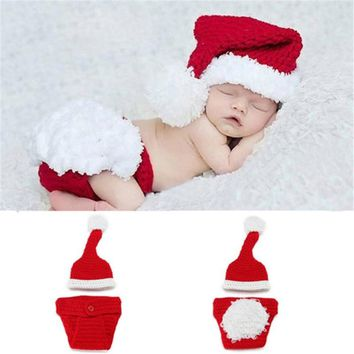 Christmas Baby Clothes Set Hat Christmas Baby Crochet Hats Knitting Hat Suit Children Newborn Baby Photography Props