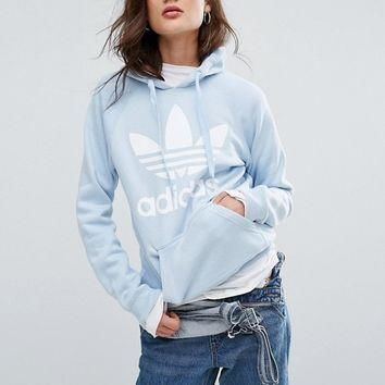 adidas Originals Blue Trefoil Boyfriend Hoodie at asos.com