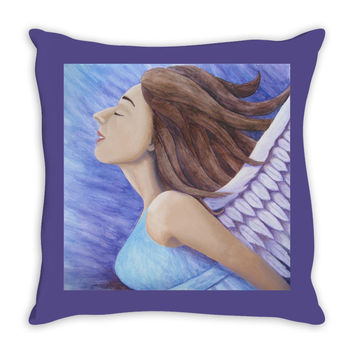 Air Goddess Flying - Throw Pillow of Angel Acrylic Paint and Watercolor Pencil Fine Art