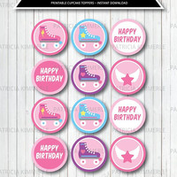 Printable Cupcake Toppers, Roller Girl, Derby, Skate Rink, Kid, Pink, Lets Roll, Wheel Favors, Birthday, Decorations, DIY,  INSTANT DOWNLOAD