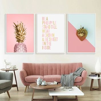 Home Wall Decoration Fruit Poster Printing Art Gold Yellower Pink Banana Strawberry Pineapple And Letters Nordic Canvas Painting