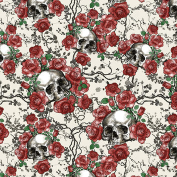 Skulls and Roses or Les Fleurs du Mal Art Print by Paula Belle Flores