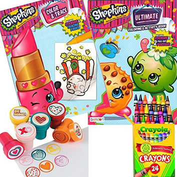 Shopkins Coloring ,Trace & Stamper Activity Book Set - Include 2 Coloring Books with Stickers and Posters , 24 Crayola Crayons and 6 Fun Heart Stampers