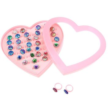 36pcs Colorful Children Plastic Flower Rings Sparkle Adjustable with Heart Shape Display Case for Kids Birthday Party Favors
