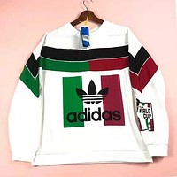 Adidas New Trending Women Men Stylish Casual Print Long Sleeve Round Collar Sweater Top Sweatshirt