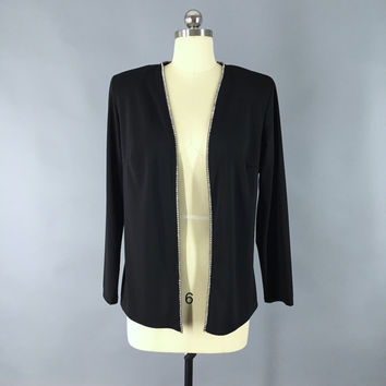 Vintage 1980s Cardigan Jacket / Black Crepe / Rhinestones / Formal Evening / 80s