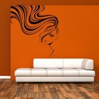 Wall Decal Sticker Girl Sexy Hairs Head Bedroom Decal  z218