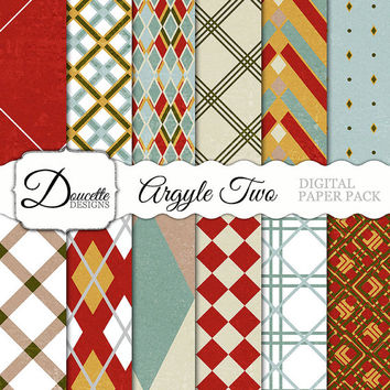 Instant Download-Argyle Two Pattern Rustic Cottage Retro Bohemian Vintage Chic Digital Scrapbooking Paper Pack Personal and Commercial Use