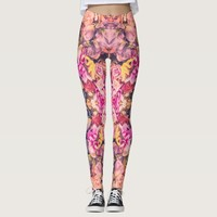 Vintage dried flowers kaleidoscope rose pattern leggings