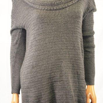 $69 Style&Co Women's Gray Cowl Neck Knit Hi Low Tunic Sweater Top S