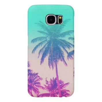 Girly Cute Pink Turquoise Ombre Tropical Palm Tree Samsung Galaxy S6 Case