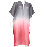 Red & Grey Ombre two tone long frayed edge cover up kimono cardigan - High Quality