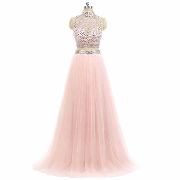A line High neck Beaded Tulle Formal Gowns Elegant Long Two Piece  Dresses