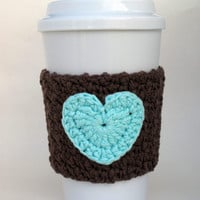 Crocheted Heart Coffee Cup Cozy Brown and Robin's Egg Blue