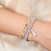 Beaded Wrap Bracelet in Soft Blue Crystals with Tassel Peace Sign and Crystal - Single Wrap Woven Bracelet