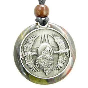 Amulet Howling Wolf Eagles Magic Medallion Circle Tiger Eye Iron Pendant Necklace