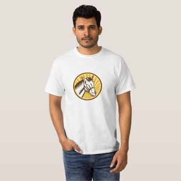White Horse Head Sunburst Circle Woodcut T-Shirt