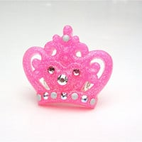 Pink crown ring - sparkly crown ring - queen ring - princess ring - glitter resin ring by Sparkle City Jewelry