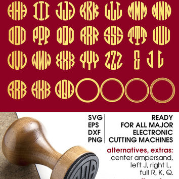 Circle Monogram Alphabet Letters (SVG, eps, DXF, PNG) - Cut Files for Silhouette, Cricuit, other major electronic cutting machines cv-085