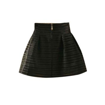 2016 New Brand Hot Sale Women Summer Style Fashion Skirts Womens Zipper Pleated Midi Skirt Elastic Waistline Tutu Women Skirt A1