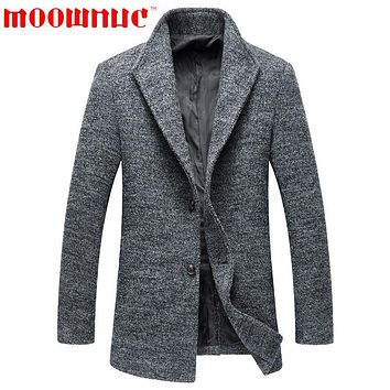 Woolen Overcoats for Men Stand Collar Classic Casual Business Gentleman Fashion Wool Overcoat Male Non Ironing Brand MOOWNUC