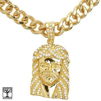 "Jewelry Kay style Men's 14K Gold Plated Jesus Face Pendant 24"" Heavy Cuban Chain Necklace KC 8012G"