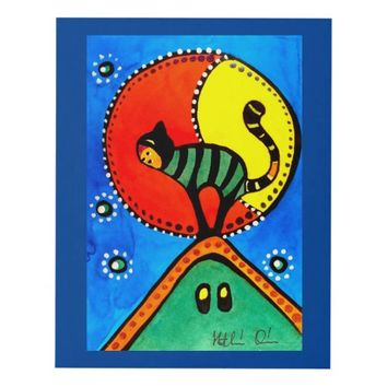 Cat and Moon Whimsical Cat Design Panel Wall Art