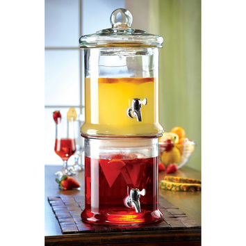 Double Beverage Drink Dispenser New Stand Glass Drink