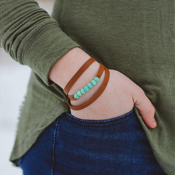 Repurposed Leather Necklace or Wrap Bracelet with Turquoise Wood Beads