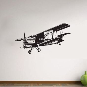 Military Aviation Airplane Wall Stickers For Kid Rooms Removable Vinyl Wall Decals Cartoon Aircraft Wall Decor