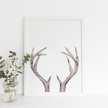 Nordic Lodge Deer Antler Minimalist Wall Art Print
