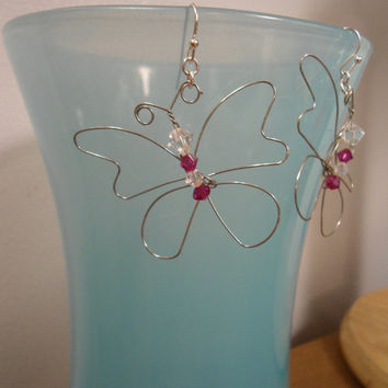 Pink and White Butterfly: Pink Butterfly, Butterfly Earrings, White Butterfly, Wire Butterfly, Crystal Butterfly, Earrings