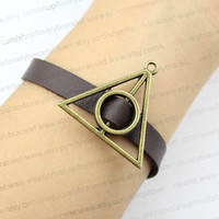 Antique bronze charm bracelet, harry potter brown leather bracelet, the best gift of friendship