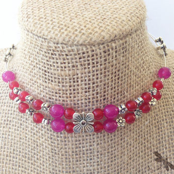 Hot Pink and Red Beaded Choker, One of a Kind Pink and Silver Necklace, Double Stranded Wire and Beads Jewelry, Flower Power with Beads, N94