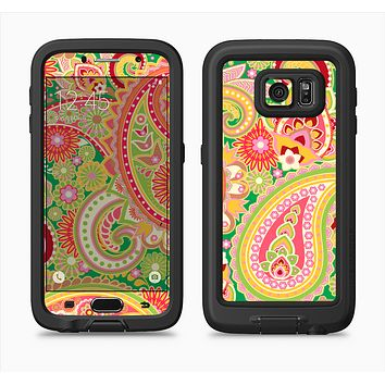 The Vibrant Green and Pink Paisley Pattern Full Body Samsung Galaxy S6 LifeProof Fre Case Skin Kit