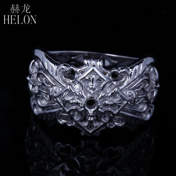 HELON Art Deco Round Cut 3mm Sterling Silver 925 Men Ring Fashion Engagement Wedding Retro Solemn Ring Fashion Jewelry Men Ring