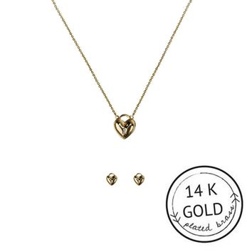 KITSCH HEART LOCK NECKLACE AND EARRING SET