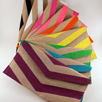 Handpainted Custom Color Chevron Envelope Clutch - Available in 10 Colors