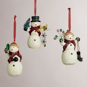 Paper Pulp Snowman Ornaments, Set of 3 - World Market
