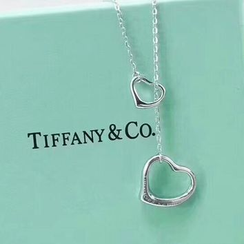 Tiffany Women Fashion New Love Heart Sterling Silver Personality Necklace Silver
