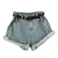 Retro Girls High Waisted Oversize Crimping Pant Jeans Shorts + A Belt
