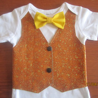 Boy gold brown vest onsie, Boy christmas bodysuit, baby X - mas green bow tie outfit, Boy red bow tie Onesuit, Boy gold vest Onesuit